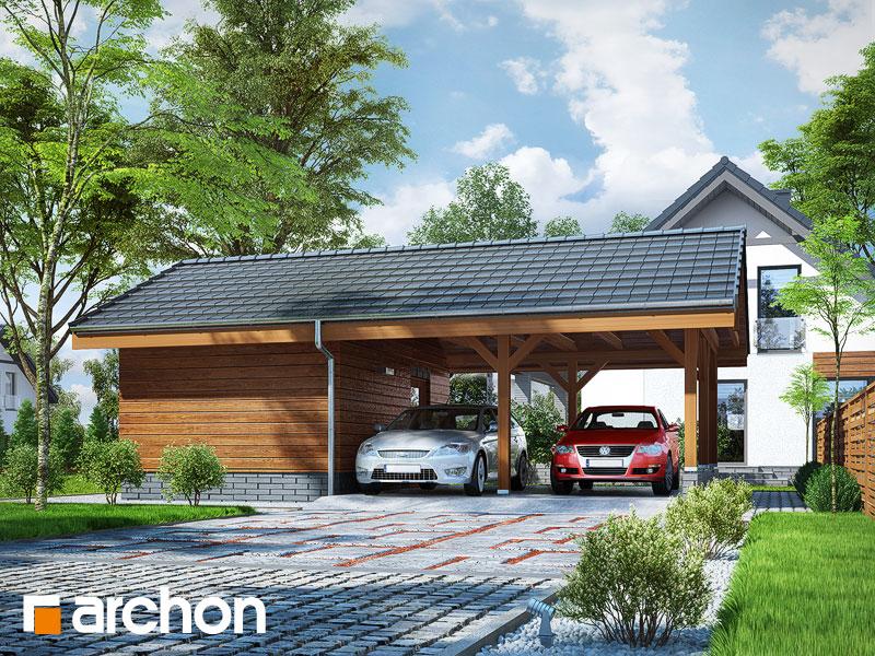 Проект дома ARCHON+ Гаражный навес (B3) - Визуализация 1